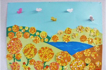 みんなで作る3月の壁画(菜の花)
